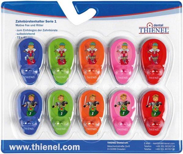 Zahnbürstenhalter - Packung Serie 1 (5 x Zahnfee, 5 x Ritter) von THIENEL Dental
