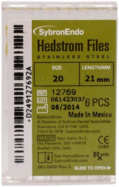 Hedströmfeilen - Packung 6 Feilen 21 mm ISO 020 von SybronEndo