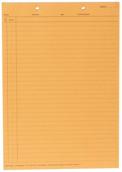 Krankenblatt M1 - Block 100 Blatt orange, kopfgelocht, A5 von Spitta Verlag