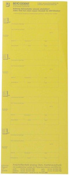 Adressfeld Chipkarte für Kartei - Packung 200 Etiketten gelb von Beycodent