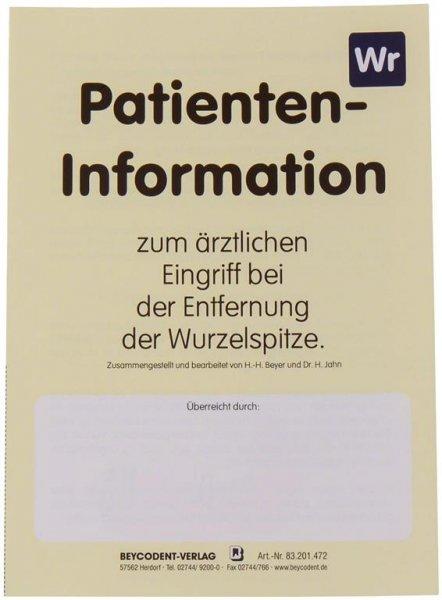 Patienten-Info - Packung 50 Hefte Entfernung Wurzelspitze von Beycodent