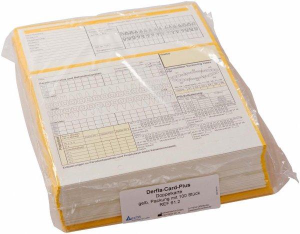 Derfla-Card-Plus - Packung 100 Doppelkarten gelb von Becht