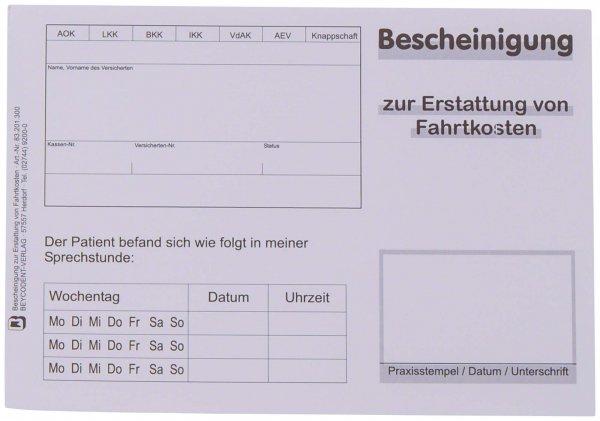 Bescheinigung zur Erstattung von Fahrtkosten - Block 100 Blatt von Beycodent