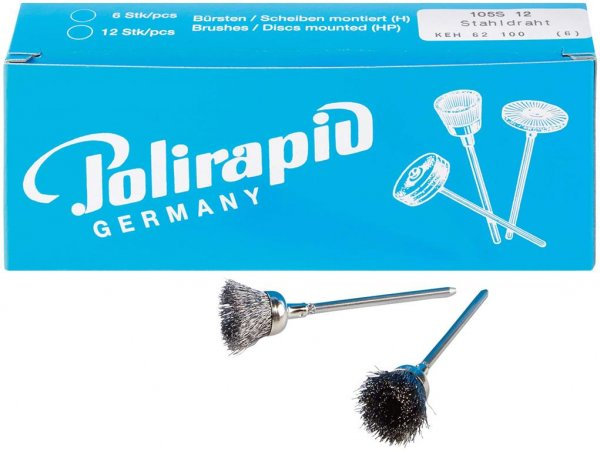 Kelchbürsten - Packung 6 Bürsten, Stahldraht 0,12 mm von Polirapid