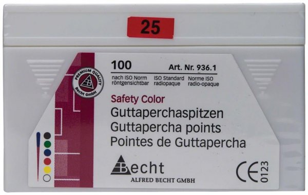 Guttaperchaspitzen Safety Color - Packung 100 Stück ISO 025 von Becht