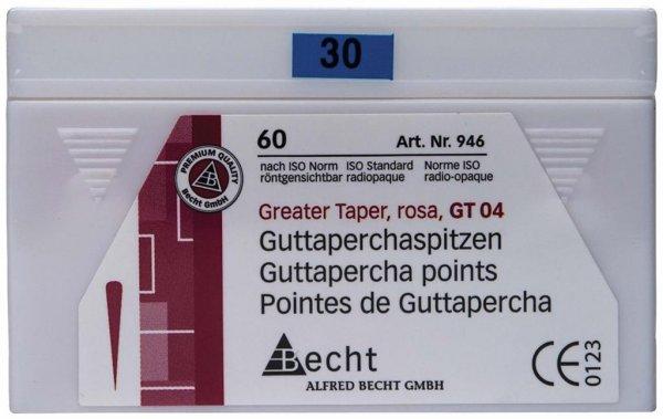 Guttaperchaspitzen Greater Taper - Packung 60 Stück Taper.04, ISO 030 von Becht