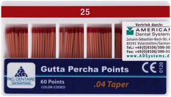 FKG Gutta Percha - Packung 60 Stück Taper.04 ISO 025 von American Dental