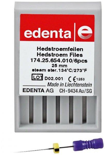 Hedströmfeilen 174 - Packung 6 Stück lila, 25 mm ISO 010 von Edenta