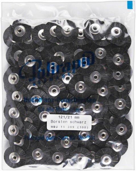 Miniaturbürste - Packung 100 Bürsten, Borste schwarz, Ø 21 mm, unmontiert von Polirapid