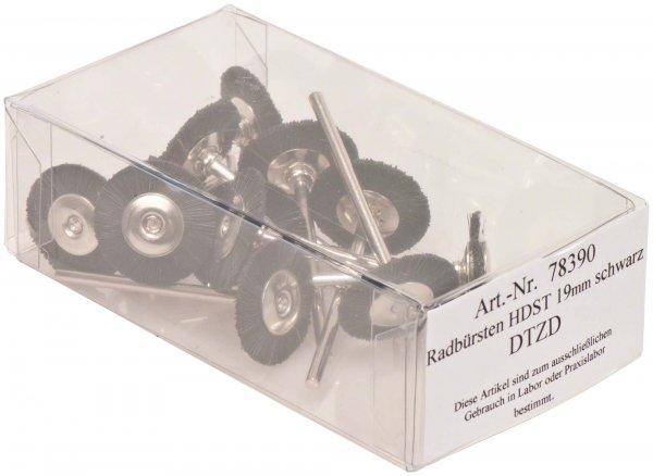 Radbürste Handstück - Packung 12 Bürsten montiert Borsten schwarz 19 mm von OMNIDENT