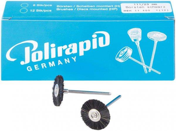 Miniaturbürste - Packung 12 Bürsten, Borste schwarz, Ø 23 mm von Polirapid