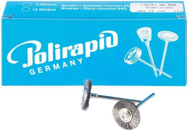 Miniaturbürste - Packung 6 Bürsten, Stahldraht 0,08 mm, Ø 21 mm von Polirapid