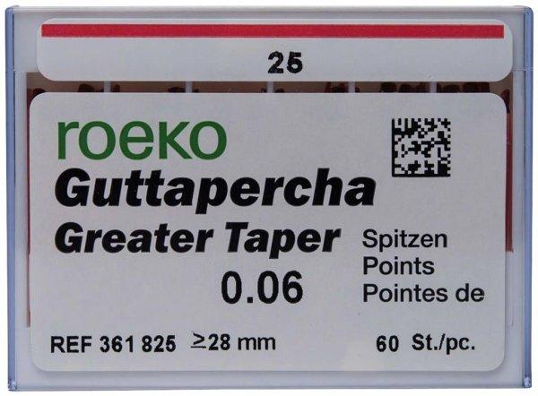 Guttapercha Greater Taper - Packung 60 Stück Taper.06 ISO 025 von COLTENE